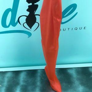 Hot Orange Knee High Boot